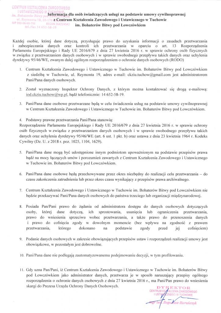klauzula informacyjna umowa zlecenie